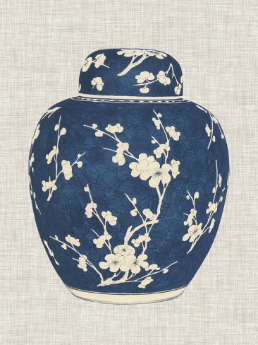 Blue & White Ginger Jar on Linen I Art Print