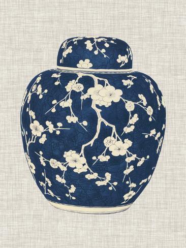 Blue & White Ginger Jar on Linen II Art Print