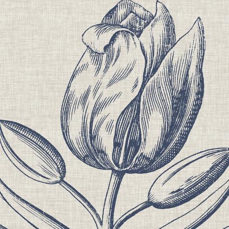 Indigo Floral on Linen IV Stampa artistica