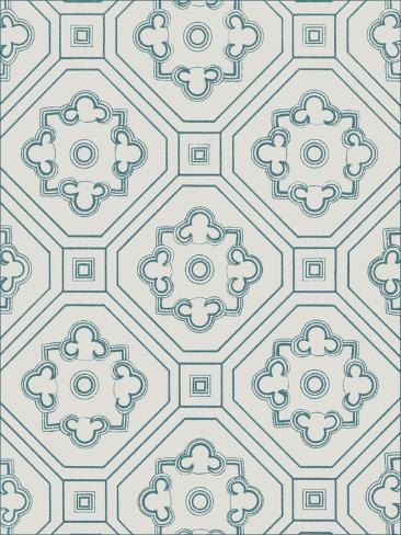 Ornamental Pattern in Teal IV Art Print