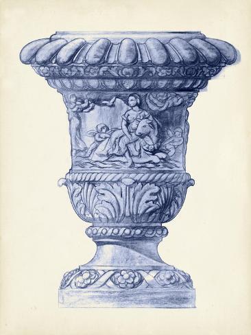 Palace Urns in Indigo II Art Print