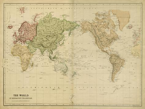 The World on Mercators Projection Art Print