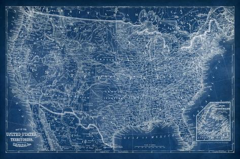 US Map Blueprint Prints By Vision Studio At AllPosterscom - Us map blueprint