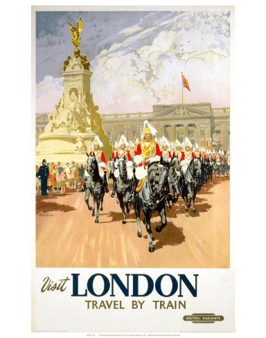 Visit London Travel by Train Konstprint