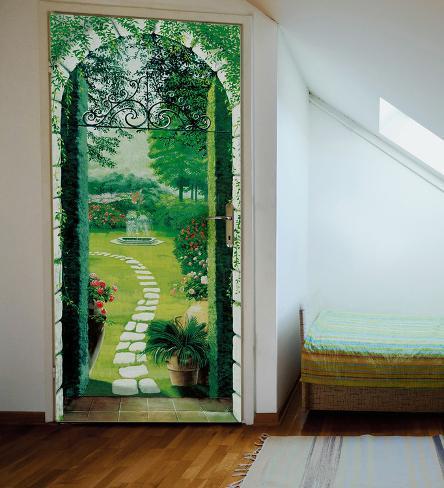 Vista del porticato door wallpaper mural mural de papel for Door wallpaper mural