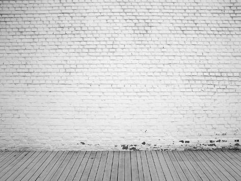 white brick wall and wood floor background photographic print