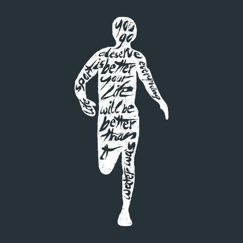 Typography Lettering Runner Art Print