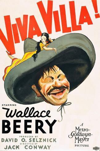 VIVA VILLA!, Wallace Beery on poster art, 1934. Art Print