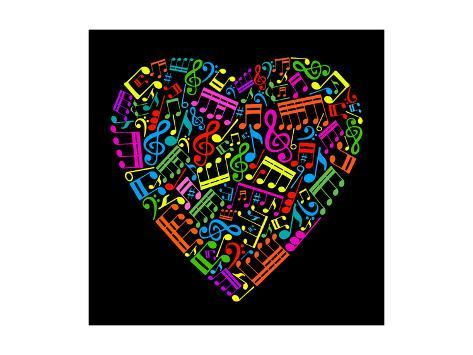 Heart Collected from Musical Notes Art Print