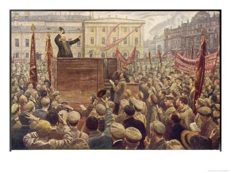 Vladimir Lenin Addressing a Moscow Crowd Giclee Print