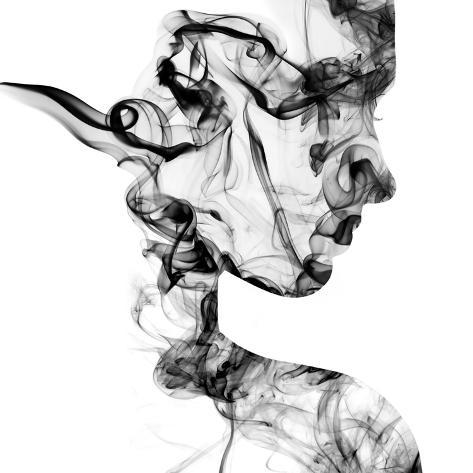 Double Exposure Portrait of Young Woman and Cigarette Smoke. Photographic Print