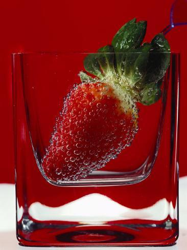 Strawberry in a Glass of Water Photographic Print