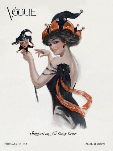Vogue Cover - February 1910 Stampa giclée premium