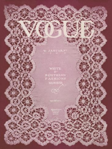 Vogue Cover - January 1909 Stampa giclée premium