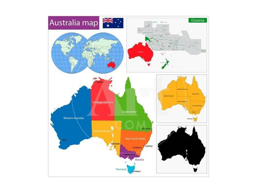 Regions Of Australia Map.Colorful Australia Map With Regions And Main Cities