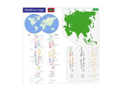 Map Of The Republic Of The Maldives Drawn With High Detail And Accuracy