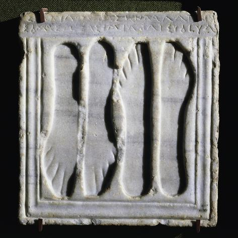 Votive Offering Depicting Footprints, from Italica, Spain Giclee Print