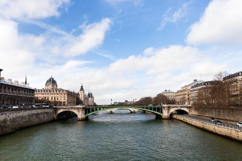Seine River and Pont D'arcole in Paris Photographic Print