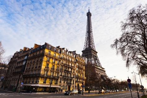 View of Eiffel Tower from Quai Branly in Paris Photographic Print