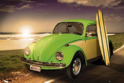 VW BEETLE - With Surfboard Poster