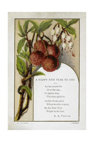 new year greetings card with floral and fruit decoration and poem by a a proctor