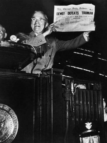 Victorious President Harry Truman Displaying Chicago Daily Tribune Headline, Dewey Defeats Truman Photographic Print