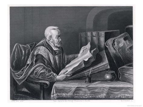 Scholar Wearing a Fine Cloak Peers Through His Monocle to Read a Large Format Book Giclee Print
