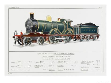 South Eastern and Chatham Railway Express Loco No 735 Giclee Print