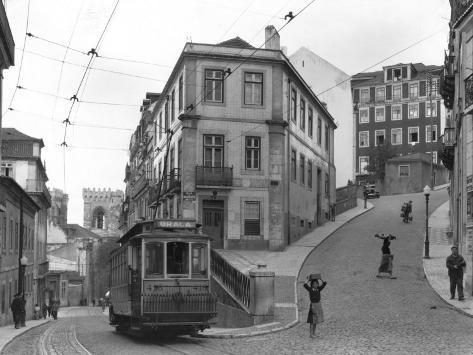 Lisbon Street Scene with Tramcar Photographic Print