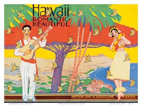 Hawaii Romantic Beautiful, Tourist Booklet Cover, 1940's Art Print