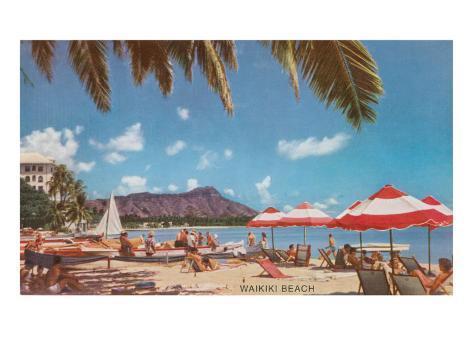 Waikiki Beach and Diamond Head, Hawaii Art Print