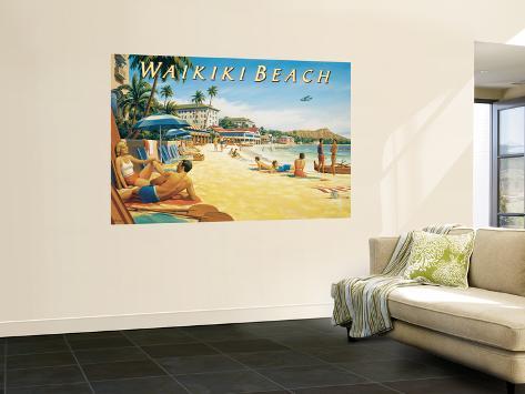 Waikiki Beach Laminated Oversized Art