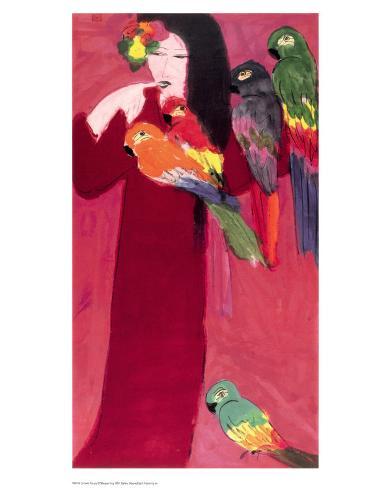 Girl with Parrots Konstprint