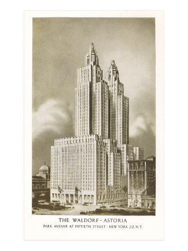 Waldorf-Astoria Hotel, New York City Art Print