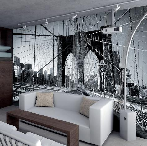 Walk Along New York's Brooklyn Bridge Wallpaper Mural Wallpaper Mural