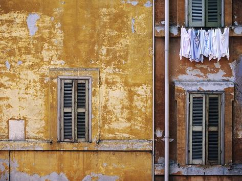 Wall of Building in Rome Stretched Canvas Print