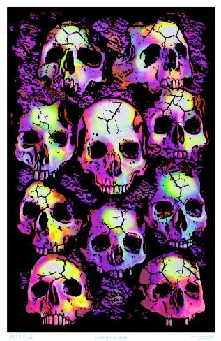 Wall of Skulls Blacklight Art Poster Print Blacklight Poster