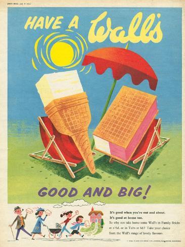 Wall's, Ice-Cream, UK, 1950 Giclee Print