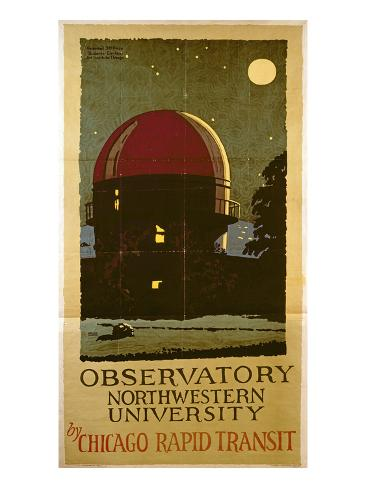Observatory Northwestern University, Poster for the Chicago Rapid Transit Company, USA, 1925 Giclee Print