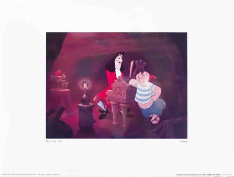 Walt Disney's Peter Pan: Captain Hook, Smee and Tinkerbell Art Print