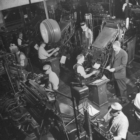Overall Shot of the 44 Linotype Machines in the Government Printing Office Photographic Print