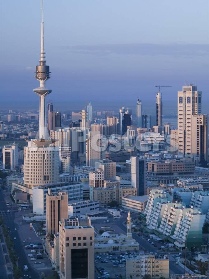 Aerial over Hilalli Street Towards Liberation Tower, Kuwait City, Kuwait