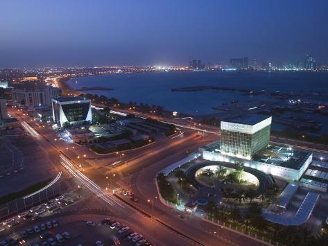 Aerial over Qatar Central Bank, Doha, Ad Dawhah, Qatar Photographic Print