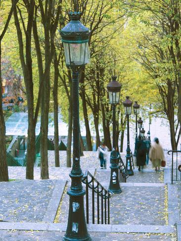 Autumn, Rue De Foyatier Steps to the Place Du Sacre Coeur, Montmartre, Paris, France Photographic Print