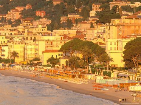 Beachfront View at Dawn, Alassio, Riviera di Ponente, Liguria, Italy Photographic Print