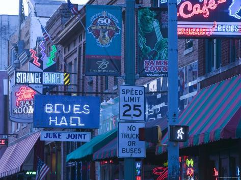 Beale Street Entertainment Area, Memphis, Tennessee, USA Photographic Print