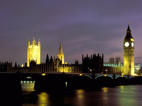 Big Ben and the Houses of Parliament at Night, London, England Photographic Print