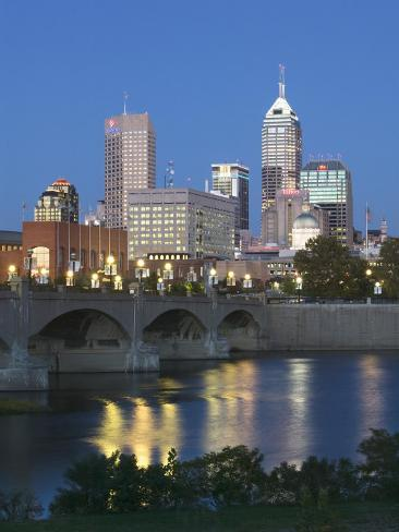 City Skyline and White River, Indianapolis, Indiana, USA Photographic Print