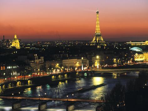 Eiffel Tower and River Seine, Paris, France Photographic Print