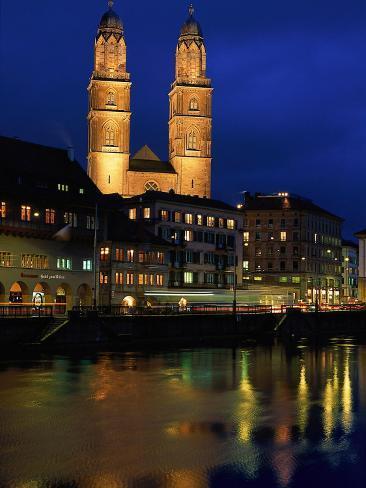 Evening, River Limmat, Zurich, Switzerland Photographic Print